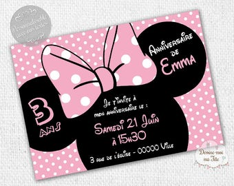"Customizable ""Minnie pink"" - printable personalized Invitation birthday invitation"
