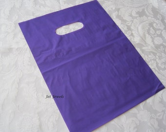 100 Plastic Bags, Purple Bags, Gift Bags, Candy Bags, Party Favor Bags, Glossy Bags, Shopping Bags, Bags with Handles, Retail Bags 9x12