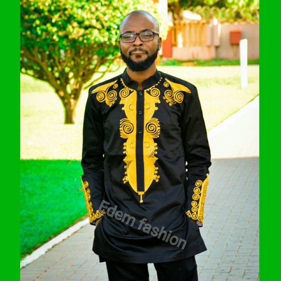 Black and gold African clothing groom\'s suit gold