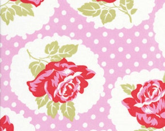 1 Yard Lulu Rose in Pink  / Tanya Whelan Fabric / DELILAH Collection - By The Yard Cotton Quilting Fabric  Cotton Quilt Apparel Fabric