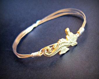 Horsing Around- Sea Horse Gold stackable bangle, brass seahorse, ocean jewelry, seahorse bracelet