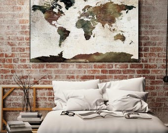 Custom canvas world map etsy large wall art world map canvas print custom world map push pin wall art gumiabroncs Image collections