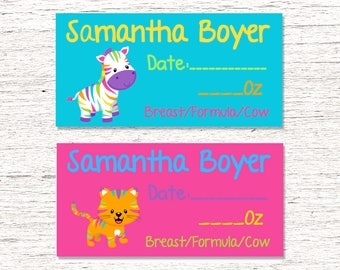80 Dishwasher-Safe Removable Baby Bottle Labels -  Personalized breast milk labels for daycare - Rainbow Jungle 002