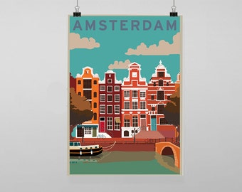 Amsterdam Travel - Vintage Reproduction Wall Art Decro Decor Poster Print Any size