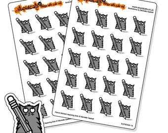 Pencil stickers - planner stickers for writing, drawing, colouring, homework - 40 grey cat stickers