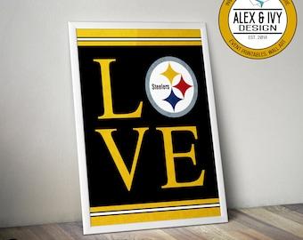Pittsburgh Steelers Love Wall Art - Diy Printable - Digital file only
