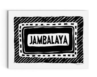 Jambalaya Typography Print - Kitchen Print - Food Art - Cajun and Southern Art - Linocut Block Print - Digital Print