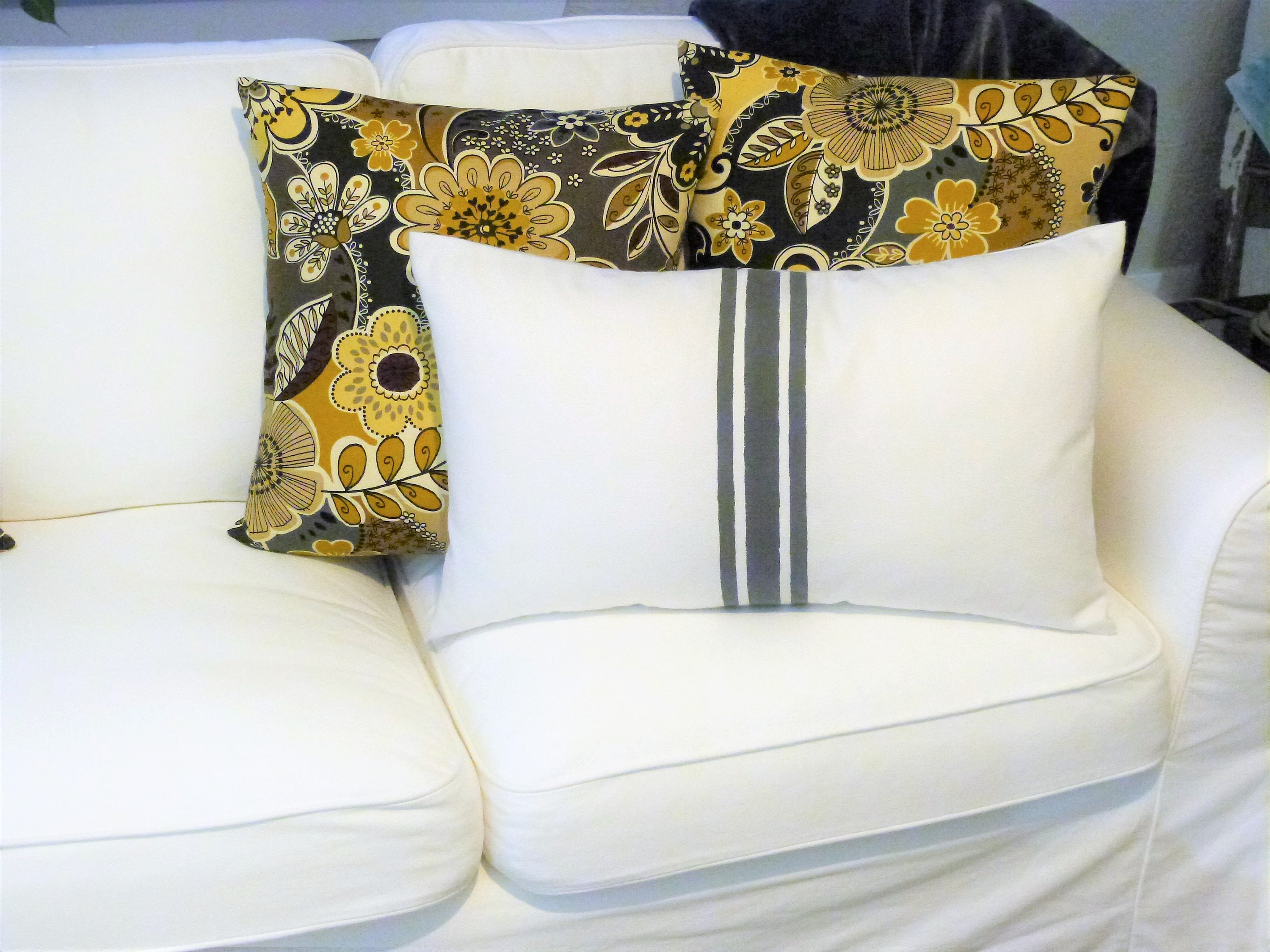 Modern Design Floral Pillow Covers/Grey and Yellow Floral Pillow ...