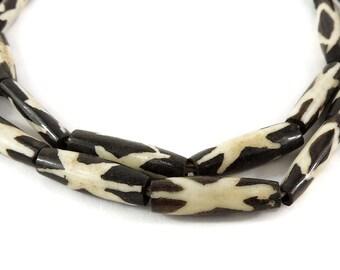 Mudcloth Batik Bone Beads Cylinder Star Kenya Africa 118381