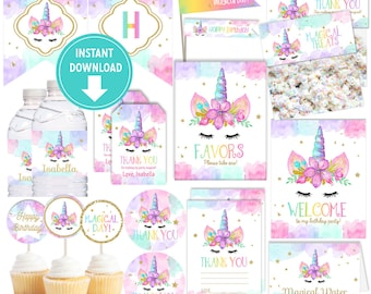 Unicorn Birthday Party Collection Kit, Unicorn Tags, Unicorn Labels, Cupcake Toppers, Welcome Sign, Banner, Bag Toppers - Instant Download!