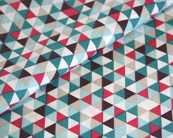 Cotton fabric geometrical meter pink blue triangles geo pattern fabric reference fabric price per metre