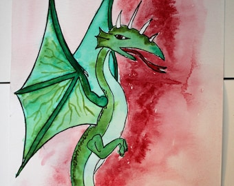 Original watercolor green dragon