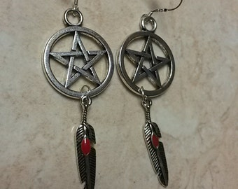 Pentagram Earrings with feather