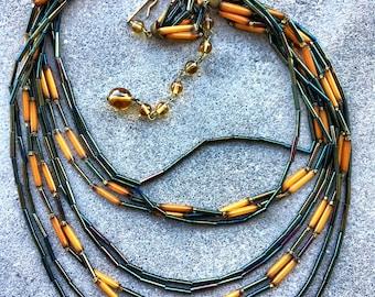 Antique flapper bead necklace Amazing colors Czech multistrand