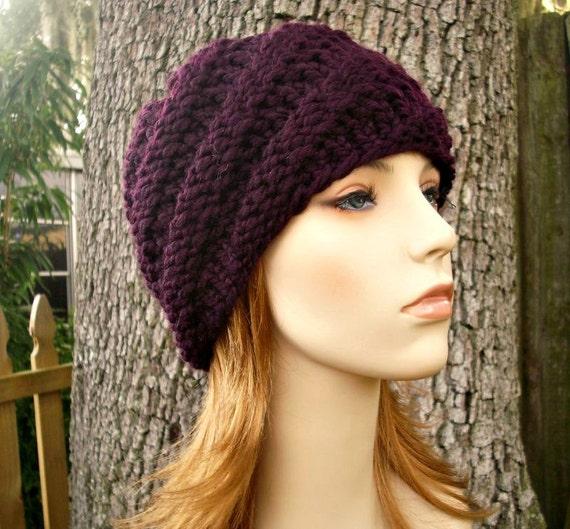 Knit Hat Purple Womens Hat - Swirl Beanie in Eggplant Purple Knit Hat - Purple Hat Purple Beanie Womens Accessories Winter Hat