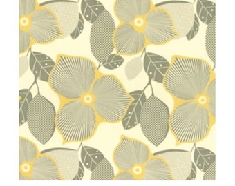 Optic Blossom Fabric Amy Butler Midwest Modern Quilters Cotton Yellow Mustard Gray 1/2 Yard Destash Fabric