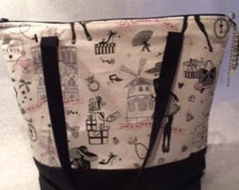 Canvas tote bag ', Paris ' fully lined with inside pockets