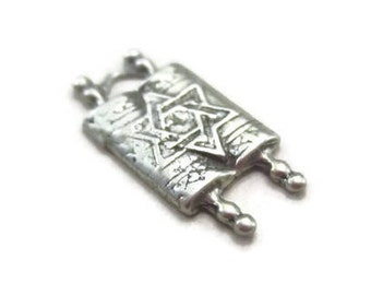 Torah Charm Sterling Silver Jewish Scriptures Hebrew Star of David Pendant