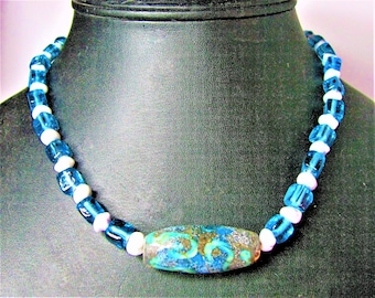 Blue and Green Lampwork Tube Bead Focal with Blue and White Support Beads - 543 N