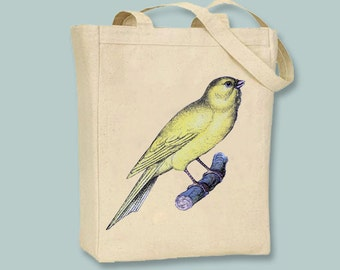 Gorgeous Vintage Canary Illustration Canvas Tote -- Selection of sizes available