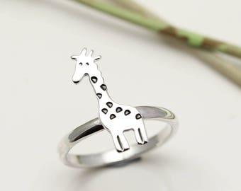 Sterling Silver Giraffe Ring - Giraffe Jewellery