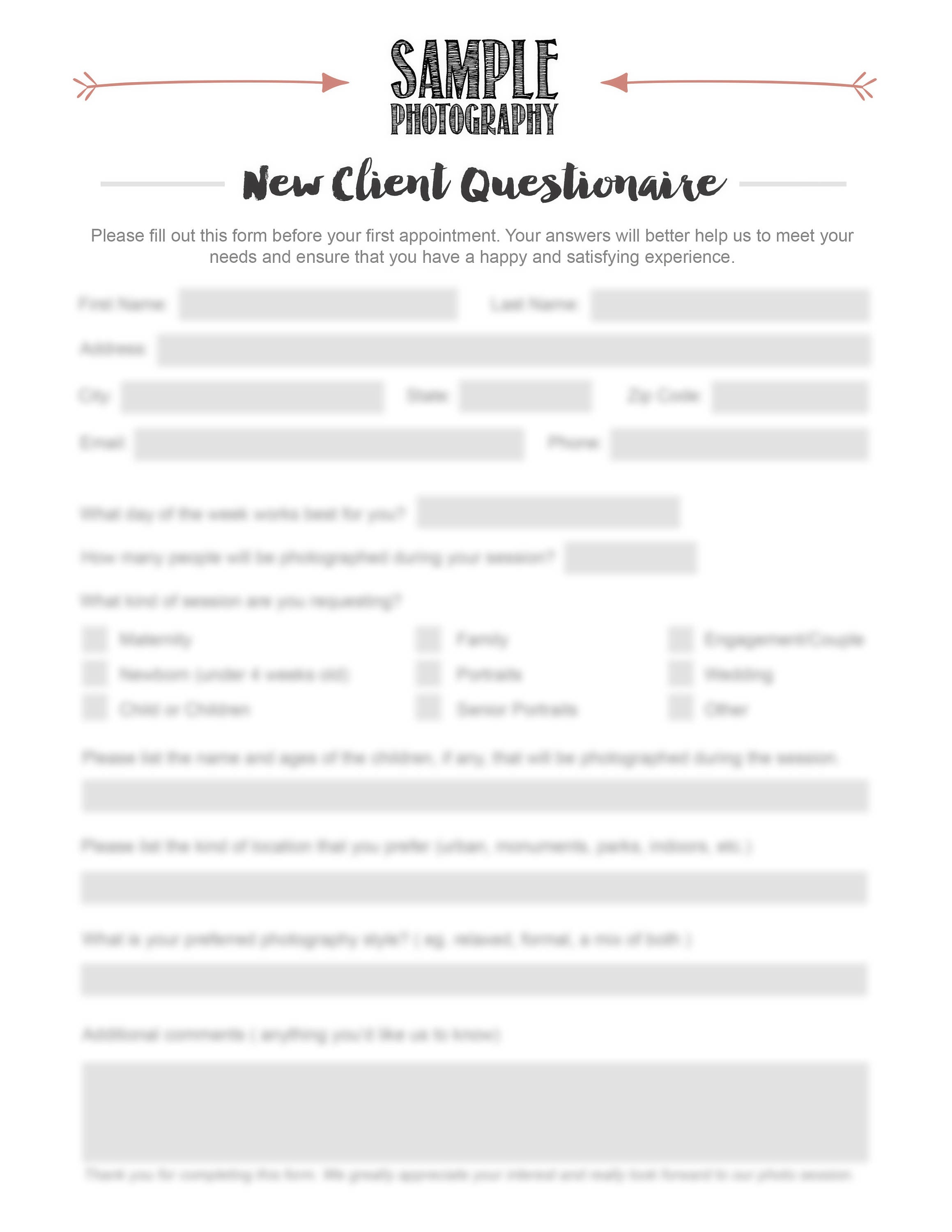 Photographer new client questionnaire photography new for New customer questionnaire template