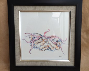 The Muse - Original Watercolor Painting of Hands- Home Decor - Unique Art - Gallery Wall