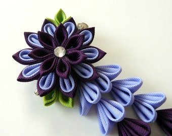 Purple Kanzashi Fabric Flower hair clip with falls. Purple fabric flower. Purple flower hair clip. Purple japanese hair clip.