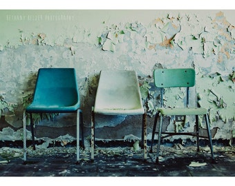 3 Chairs, 5x7 Print, Urban Exploration, Mint, Abandoned Photography, Detroit Art, Peeling Paint, Chair Photography, Chair Print, Still Life