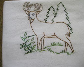 New Handmade Embroidered Deer Flour Sack Kitchen Dishcloth Towel