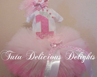 Pretty Pink Princess Birthday 3 Layer Tutu and Shirt