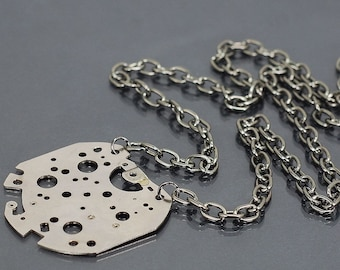 Cyberpunk Jewelry- Silver Upcycled Clock Part on Gunmetal Chain Industrial Necklace, Steampunk Necklace, Industrial Jewelry by Tanith Rohe
