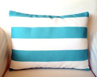 OUTDOOR Throw Pillow Covers, Cushions,  Lumbar Pillow, Turquoise Aqua White, Stripe Cushion, Ocean Outdoor Pillow One 12 x 16 or 12 x 18