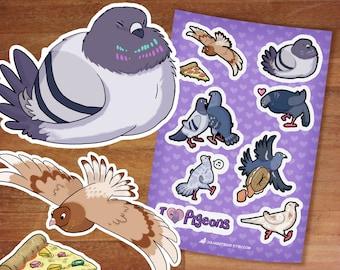 Stickers / NEW Pigeon Stickers / City Pigeons / Pigeons / Sticker Sheet / Kawaii stickers / Bird Designs / Bird stickers/ Smol birb