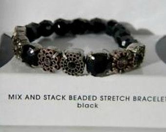 Avon Mix & Stack Beaded Stretch Bracelet Black