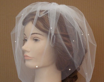 Double Layer Tulle Birdcage Veil with Scattered Swarovski Rhinestones in Ivory, White, and More Colors - READY TO SHIP in 3-5 Business Days