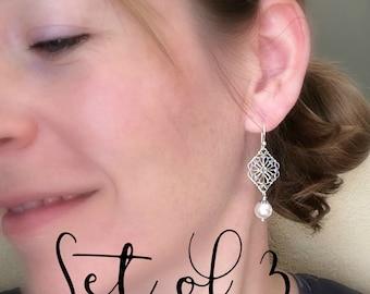 Bridesmaid earrings set of 3 three pearl earrings, sterling silver, filigree earrings, vintage inspired, white pearls, bridesmaid gift,