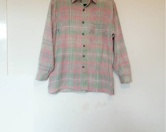 Pink and Green Flannel Shirt Vintage Plaid Flannel Button Up Shirt Oversize Pastel Pink Green Shirt Men's Waffle Fabric Vintage Shirt Plaid