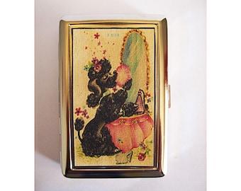 retro poodle metal wallet vintage 1950s rockabilly cigarette case kitsch business card holder