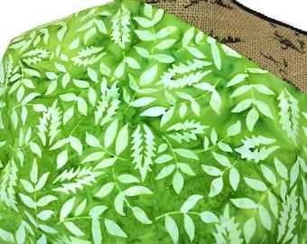 Batik Fabric--Hand Dyed Fabric--Tie Dyed Fabric--Indonesian Batik Fabric--Bright Green Ferns Batik Fabric--Batik Fabric by the HALF YARD