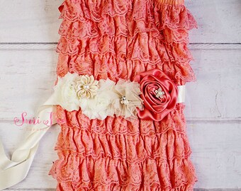 Baby Girl Birthday Outfit, Baby Lace Romper,Cake Smash Outfit, Baby Girl 1st Birthday Outfit,Cake Smash Outfit,Newborn Romper, Lace Romper,