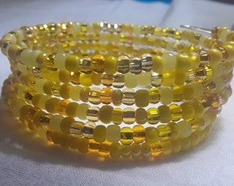 Yellow Czech Bead Wrap Bracelet