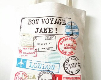 Personalised travelling linen canvas tote bag