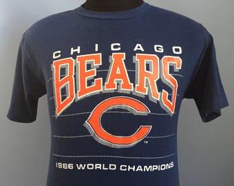 80s Vintage Chicago Bears 1986 World Champs Super Bowl XX 1985 nfl football T-Shirt - MEDIUM