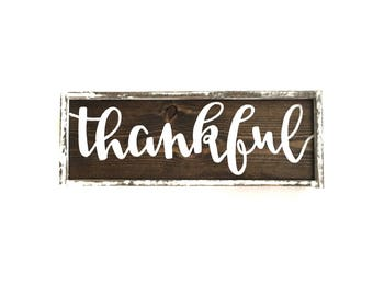 Thankful Handcrafted Wooden Fall Sign // Thanksgiving Sign // Thanksgiving Decor // Farmhouse Fall Sign // Rustic Fall Decor