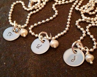 SALE Monogrammed initial necklace with Swarovski crystal birthstone or freshwater pearl hand stamped custom necklace great for best friends