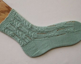 Knit Sock Pattern:  Feathered Cable Socks Knitting Pattern