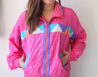 1980s RAINBOW SILK Jacket..90s. colorful. bright. retro. 1980s. 1990s. rad. fun. hipster. womens. mens. swishy. mesh jacket. pullover. SILK uZRbGQdX