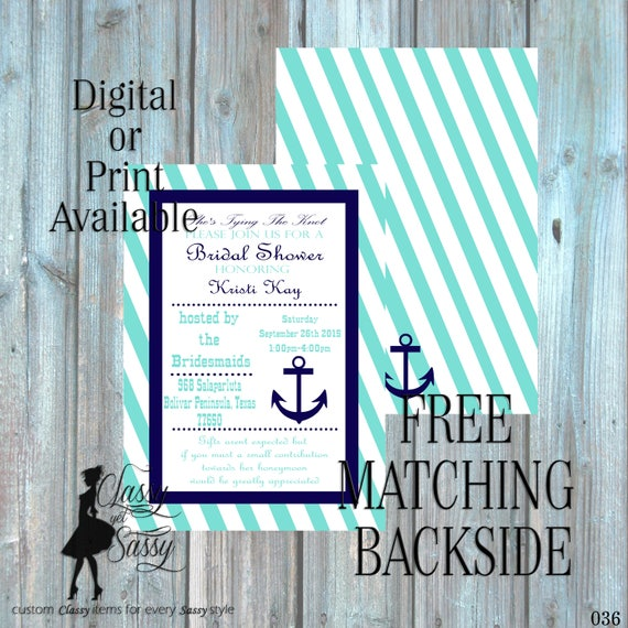 Anchor Baby Shower Inviation, Nautical Baby Shower Invitation,  Navy theme Baby Shower Invitation, It's A Baby Shower Invite, 036