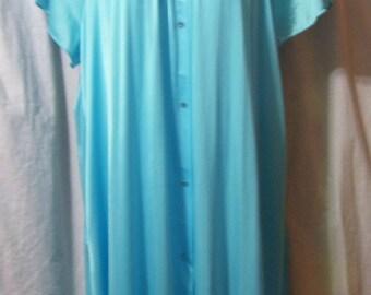 Waltz Robe, Turquoise Blue, Shadowline, Plus Size 1X,